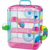 Lazy Bones Hamster Cage 3 Storey Pink