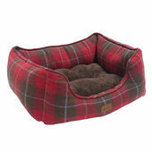 Joules Red Country Tweed Square Dog Bed