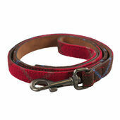 Joules Red Tweed Leather Dog Lead