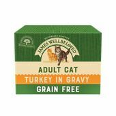 JAMES WELLBELOVED BUMPER PACK Adult Cat Grain Free Pouches with Turkey in Gravy 24x85g