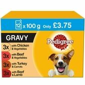 12 x Pedigree Wet Dog Food Pouches Mixed Selection in Gravy 100g