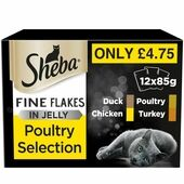 12 x Sheba Fine Flakes Adult 1+ Pouches Mixed Poultry Selection in Jelly 85g