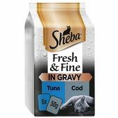 6 x Sheba Fresh & Fine Wet Cat Food Pouches Tuna & Cod in Gravy 50g