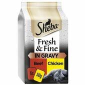 6 x Sheba Fresh & Fine Wet Cat Food Pouches Beef & Chicken in Gravy 50g