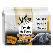 15 x Sheba Fresh & Fine Wet Cat Food Pouches Poultry in Gravy 50g