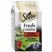 6 x Sheba Fresh Cuisine Taste of Rome Wet Cat Food Pouches in Gravy 50g