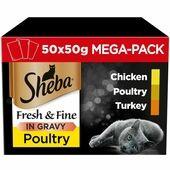 50 x Sheba Fresh & Fine Wet Cat Food Pouches Poultry in Gravy Mega Pack 50g