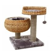 Great&Small Snuggle&Snooze Double Banana Leaf Cat Bed & Scratch Post Grey