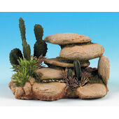 Classic Rocky Outcrops White Stone With Cactus 165mm