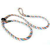 KJK Ropeworks Braided Slip Lead With Rubber Stop Rainbow Multi Coloured 8mm X 150cm