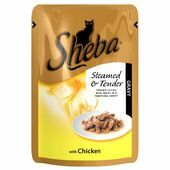 12 x 85g Sheba Steamed & Tender Chicken In Gravy Pouch