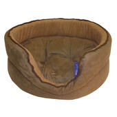 Pennine Oval Deluxe Brown Suede Dog Bed