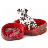 Cosipet Red Tartan Oval Superbed Dog Bed