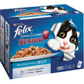 48 x Felix Pouch As Good As It Looks Senior Fish in Jelly 100g