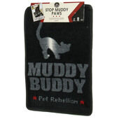 Pet Rebellion Cat Flap Mate Doormat Black 40x60cm (16x23.5