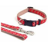 Wag N Walk Nylon Adjustable Collar Bone Red/beige