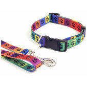 Wag N Walk Nylon Adjustable Collar Bright Multi Paw