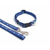 Wag N Walk Nylon Adjustable Collar Paw Blue
