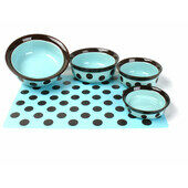 Rosewood Stoneware Pet Dish Teal/brown Spot