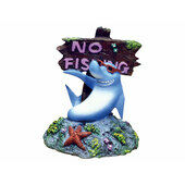 Blue Ribbon Ornament Cool Shark & No Fishing Sign 7x7x9cm