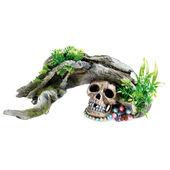 Classic Aquatic Artefacts Wood / Skull & Plants 300mm
