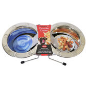 Rosewood Paw Embossed Stainless Steel Wire Double Diner Dog Bowl - Small