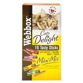 10 x Webbox Cats Delight Mini Mix Treats Salami Cheese Liver & Malt 32g