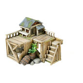 Classic Character Buildings Wooden House With Plants 170mm