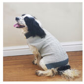 Rosewood Cable Knit Dog Sweater with Fur Collar in Grey