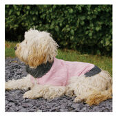 Rosewood Cable Knit Dog Sweater with Fur Collar in Pink