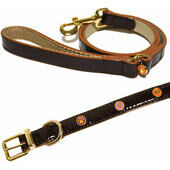 Wag N Walk Designer Leather Collar and Lead Oxblood Extra Small Toy/puppy