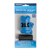 Ancol Biodegradable Poop Bag Bone Shaped Dispenser + 2 Refill Rolls