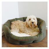 Rosewood 40 Winks Oval Bed Country Green Tweed And Plush Dog Bed