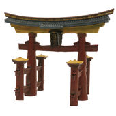 Blue Ribbon Ornament Japanesetorii Gate 18x11x14cm