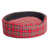 Sleepy Paws Oval Bed Red Tartan Dog Bed