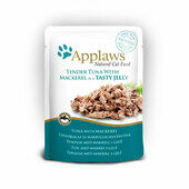 16 x Applaws Cat Pouch Tuna Wholemeat With Mackerel In Jelly 70g