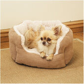 Rosewood 40 Winks Oval Sleeper Faux Suede/plush Tan Dog Bed