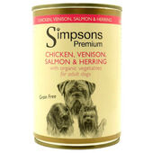 6 x Simpsons Premium Organic Chicken Venison Salmon & Herring With Vegetables 400g