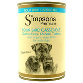 6 x Simpsons Premium Organic Adult Four Bird Casserole With Vegatables 400g