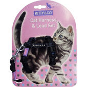 Hem & Boo Diamante Cat Harness & Lead Set Black