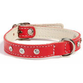 Doggy Things Fantasia Leather Dog Collar Red
