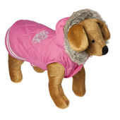 Doggy Things Waterproof Waffle Parka Coat With Hood Pink