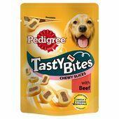 8 x 155g Pedigree Tasty Bites Chewy Slices Beef Dog Treats