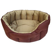 P&L Country Dog Heavy Duty Oval Waterproof Softee Beds Brown With Sand Lining