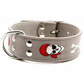 Doggy Things Pirate Dog Leather Collar Grey