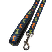 Wag N Walk Bone Nylon Lead Blue