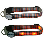 Dog E Glow Orange Plaid Flashing Light Up Dog Collar