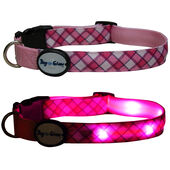 Dog E Glow Pink Plaid Flashing LED Light Up Dog Collar