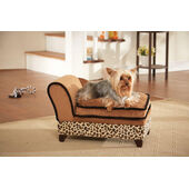 Enchanted Home Ultra Plush Tan Leopard-Print Chaise Longue Dog Bed With Storage