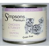 6 x Simpsons Premium Kitten Chicken Turkey With Salmon 200g
